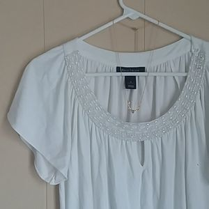 WHBM | Bead and Pearl Keyhole Blouse